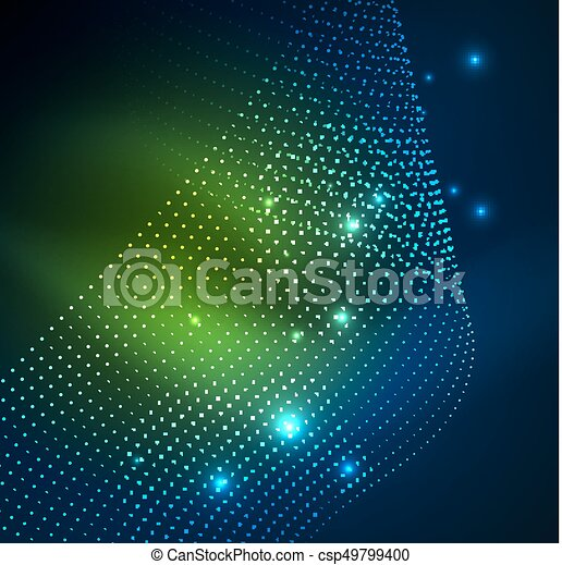 3D illuminated wave of glowing particles - csp49799400