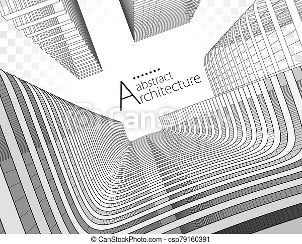 3D illustration Abstract Architecture Urban Geometry Drawing. - csp79160391