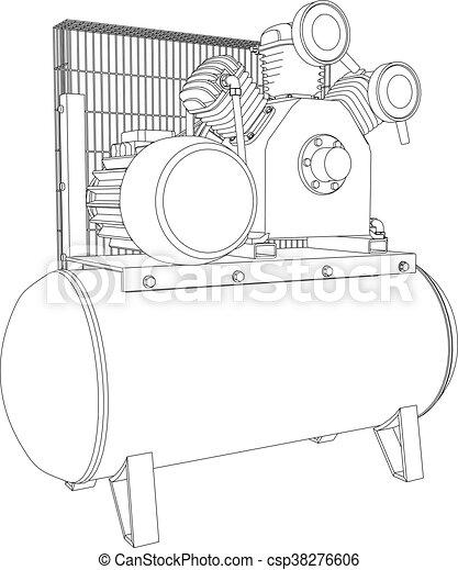 3D illustration air compressor - csp38276606