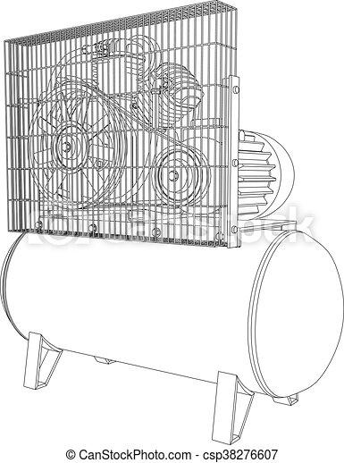 3D illustration air compressor - csp38276607