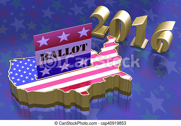 3D Illustration Ballot box in shape of USA map with USA flag superimposed. Ballot paper containing with word ballot in slot. All on blue background with stars. - csp40919853