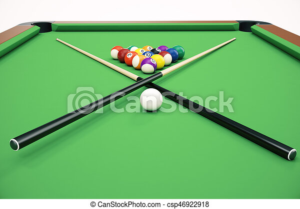 3d Illustration Billiard Balls In A Green Pool Table Game Concept