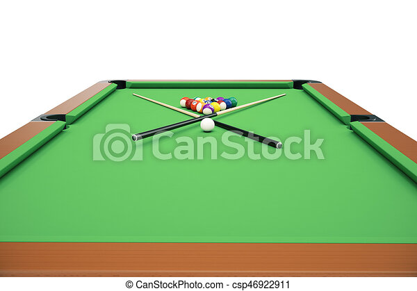 3d Illustration Billiard Balls On Green Table With Cue Snooker Pool Game