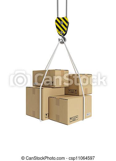 3d illustration: Cargo transportation, crane hook, and cardboard boxes - csp11064597
