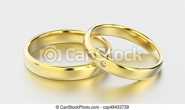 3D illustration classic yellow gold rings with diamond on a white background - csp48433739