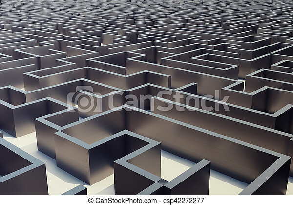 3d illustration cocrete labyrinth, complex problem solving concept