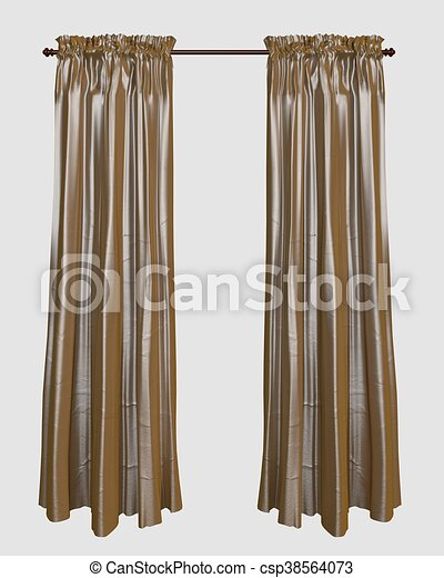 3d illustration curtains isolated on white background. Curtains