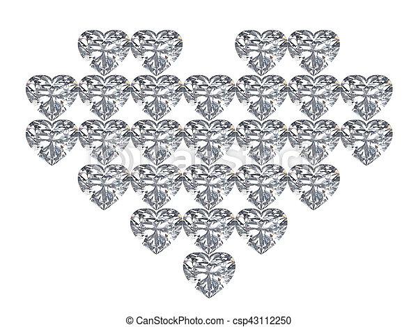 3D illustration diamond heart on a white background - csp43112250