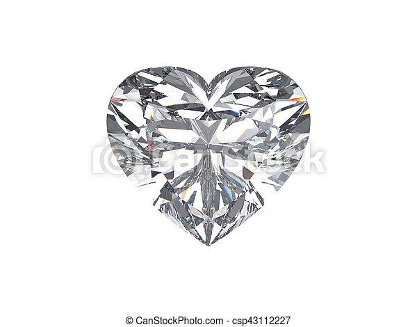 3D illustration diamond heart stone on a white background - csp43112227