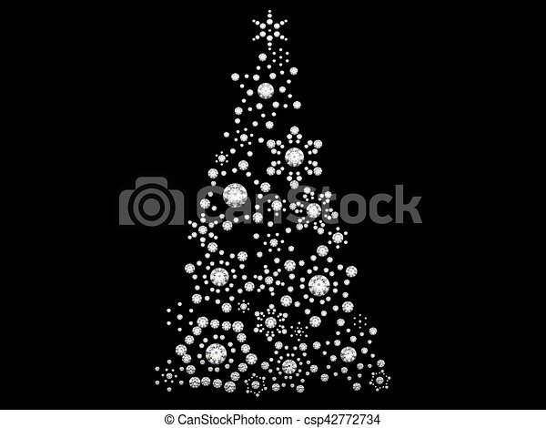3d illustration diamond snowflake new year s tree on black background rh canstockphoto com Happy New Year Clip Art Baby New Year