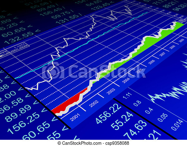 3d illustration: drawing from the sale of stock exchanges, business - csp9358088