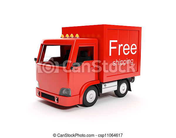 3d illustration: Free delivery of goods to any place - csp11064617