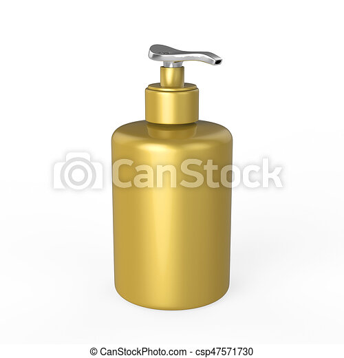 3D illustration gold bottle with liquid soap - csp47571730