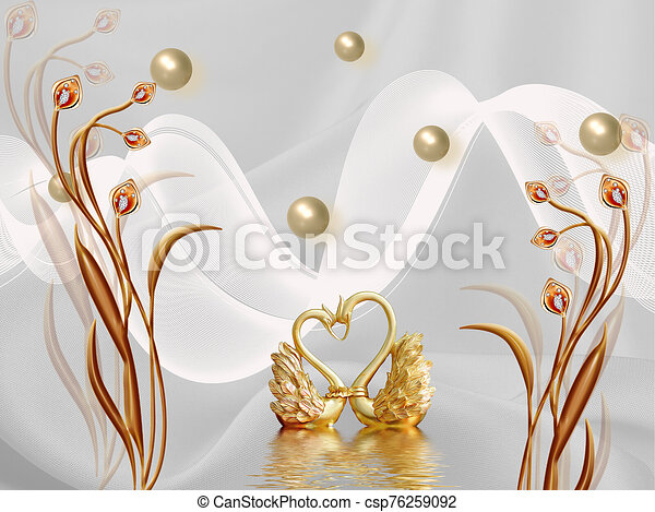 3d illustration, gray background, pearls, white waves, brown fairy flowers, golden swans are reflected in the water - csp76259092