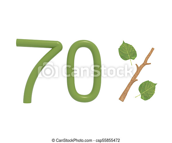 3d illustration green text designed with leaves and a stick branch percent icon isolated on white