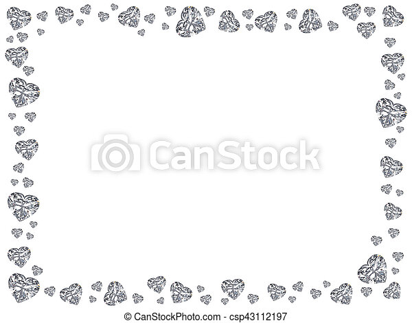 3D illustration Group of diamonds hearts rectangle frame on a white background - csp43112197