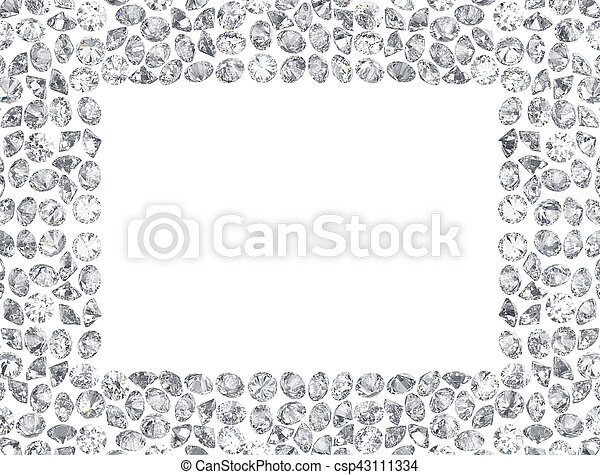 3D illustration Group of diamonds rectangle frame on a white background - csp43111334
