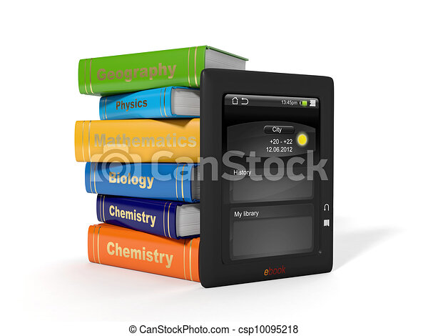 3d illustration: High School Textbooks and e-book. - csp10095218