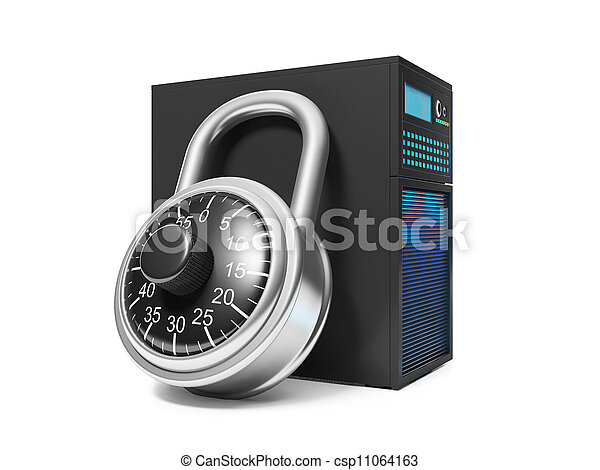 3d illustration: Information Security. Server and security lock - csp11064163
