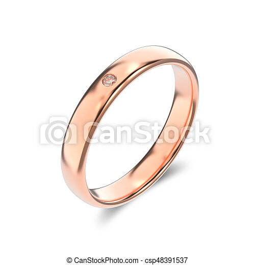 3D illustration isolated classic rose gold ring with a diamond on a white background - csp48391537