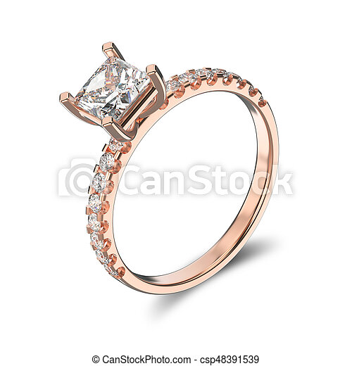3D illustration isolated classic rose gold ring with a diamonds on a white background - csp48391539