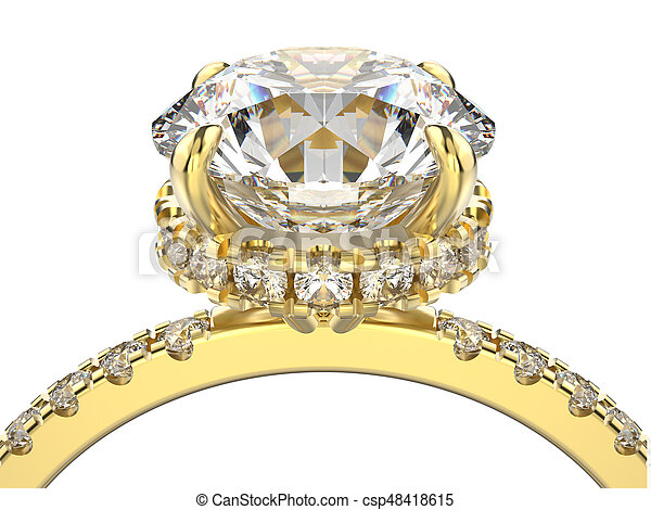 3D illustration isolated macro yellow gold ring with diamonds on a white background - csp48418615