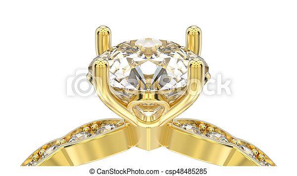 3D illustration isolated macro yellow gold ring with diamonds on a white background - csp48485285