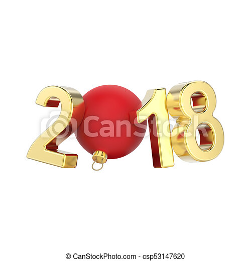 3D illustration isolated new year 2018 gold numbers and a red Christmas ball - csp53147620