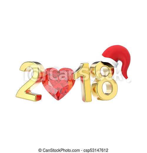 3D illustration isolated new year 2018 gold numbers in the Christmas Santa Claus hat and a red diamond heart - csp53147612