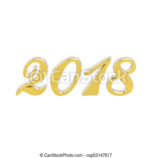 3D illustration isolated new year 2018 gold numbers - csp53147617