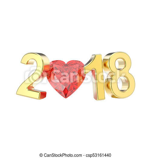 3D illustration isolated new year 2018 gold numbers and a red diamond heart - csp53161440
