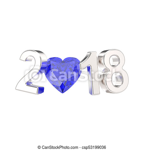 3D illustration isolated new year 2018 white gold or silver numbers and a blue diamond heart - csp53199036
