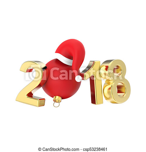 3D illustration isolated new year 2018 gold numbers and a red Christmas ball in the Santa Claus hat - csp53238461