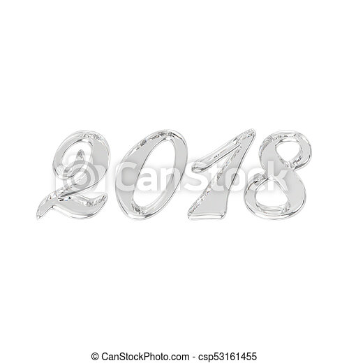 3D illustration isolated new year 2018 glass or ice numbers - csp53161455