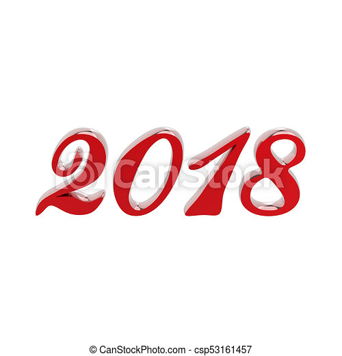 3D illustration isolated new year 2018 red numbers - csp53161457