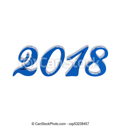 3D illustration isolated new year 2018 blue numbers - csp53238457