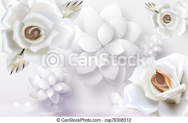 3d illustration, large white roses and paper flowers, reflected in water - csp76308312