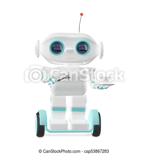 3D Illustration Little Robot with Coffee - csp53867283