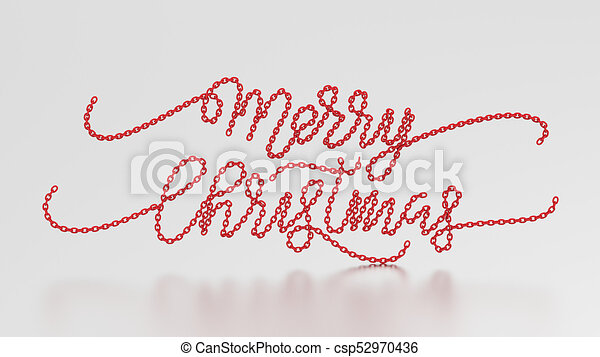 3d illustration merry christmas words from the red chain - Merry Christmas Words