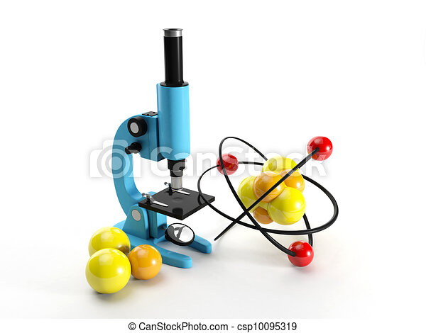 3d illustration: Microscope and nuclear lattice. Research discovery - csp10095319