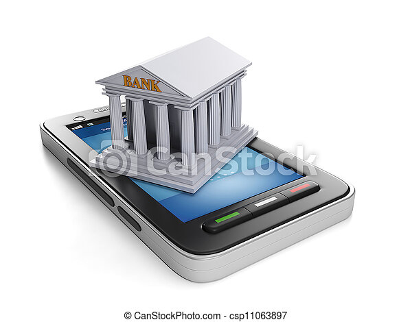 3d illustration: Mobile technology. Mobile banking, mobile phone and bank building - csp11063897