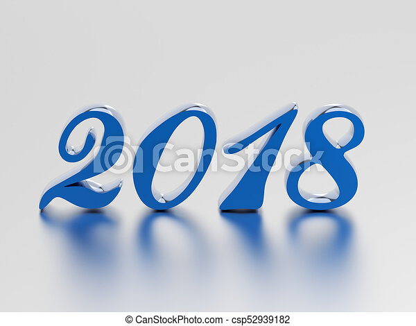 3D illustration new year 2018 blue numbers - csp52939182