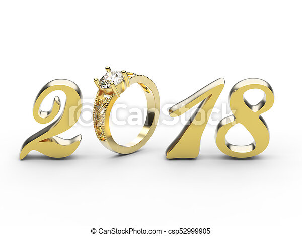 3D illustration new year 2018 gold numbers with a diamonds ring - csp52999905