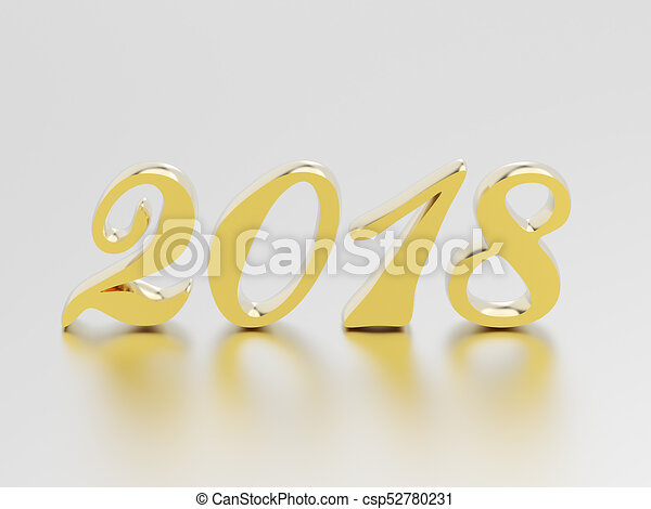 3D illustration new year 2018 gold numbers - csp52780231