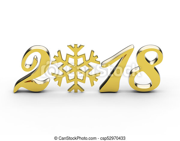 3D illustration new year 2018 gold numbers with snowflake - csp52970433