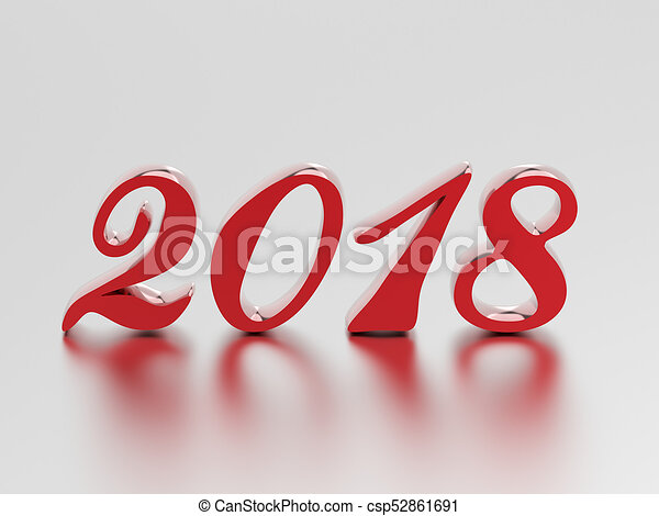3D illustration new year 2018 red numbers - csp52861691