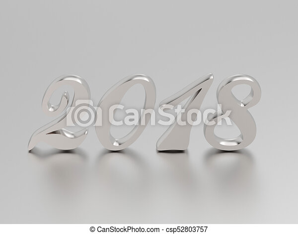 3D illustration new year 2018 white gold or silver numbers - csp52803757