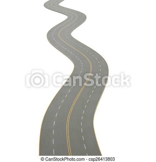 3d illustration of a curving road - csp26413803