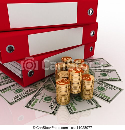 3d illustration of a folder with dollars - csp11028077