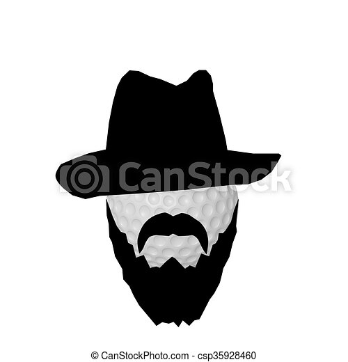 3d Illustration Of A Golf Ball With Black Beard And Gangster Hat